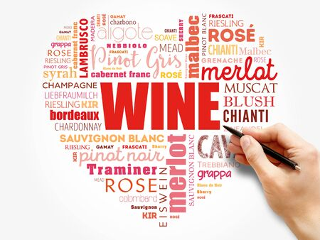 WINE VARIETALS Types love heart word cloud collage, concept background