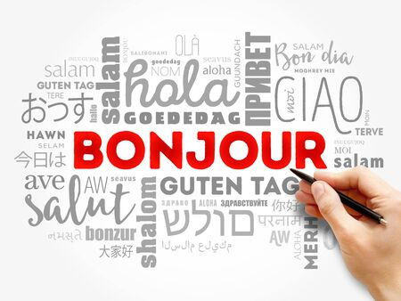 Bonjour (Hello Greeting in French) word cloud in different languages of the world, background concept Stockfoto
