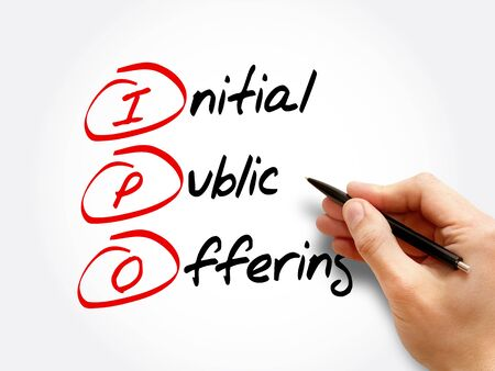 IPO - Initial Public Offering, acronym business concept background