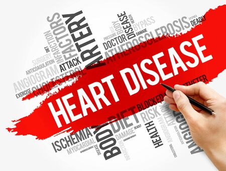 Heart Disease word cloud collage, health concept background