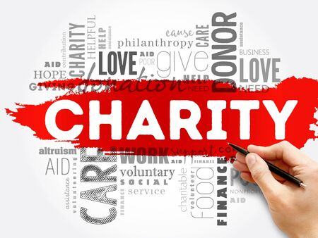 Charity word cloud collage, business concept background Stok Fotoğraf