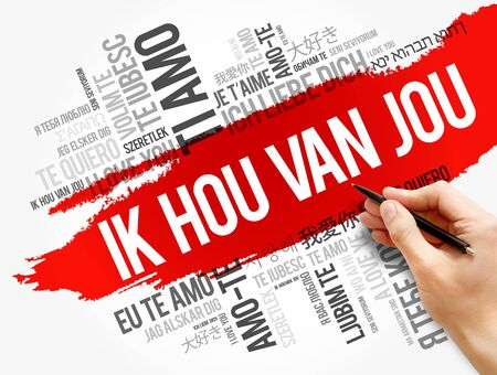 Ik hou van jou (I Love You in Dutch) in different languages of the world, word cloud background