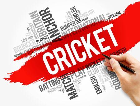 Cricket word cloud collage, sport concept background Banque d'images