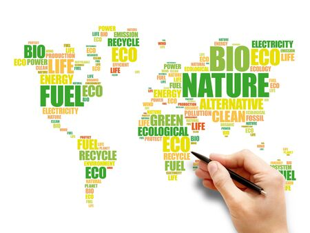 Ecology theme World Map in Typography word cloud, conceptual background 版權商用圖片 - 147919707
