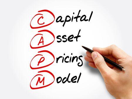 CAPM – Capital Asset Pricing Model acronym, business concept background Banco de Imagens