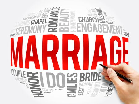 Marriage word cloud collage, concept background