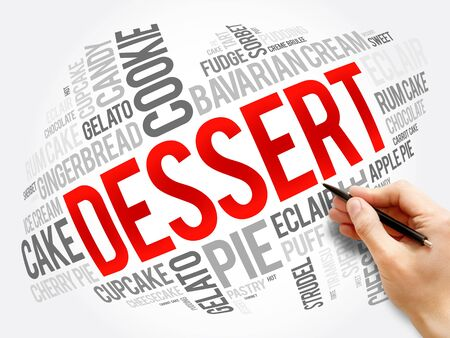 Dessert word cloud collage, food concept background