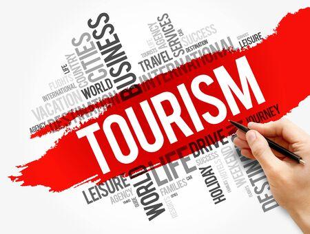 Tourism word cloud collage, travel concept background Foto de archivo