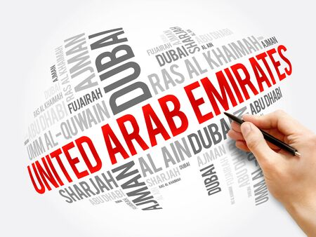 List of cities and towns in United Arab Emirates - UAE, word cloud collage, business and travel concept background Stock Photo