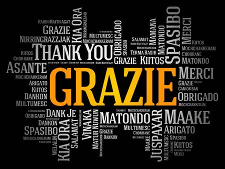Grazie (Thank You in Italian) word cloud background in different languages