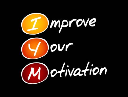 IYM - Improve Your Motivation acronym, concept background Ilustração