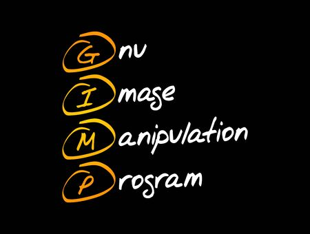 GIMP - Gnu Image Manipulation Program acronym, concept background 일러스트