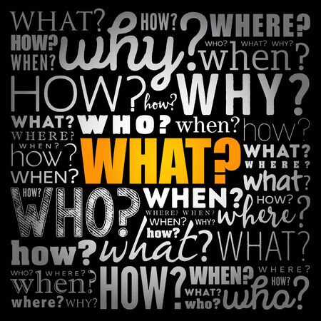 WHAT? - Questions whose answers are considered basic in information gathering or problem solving, word cloud background