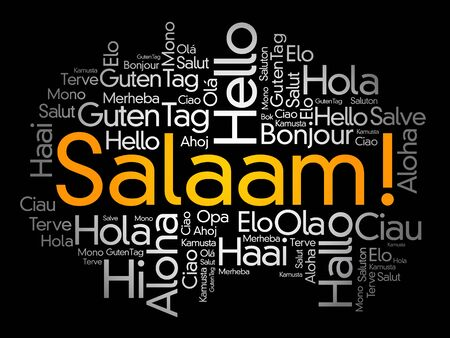 SALAAM! (Hello Greeting in Persian,Farsi) word cloud in different languages of the world  イラスト・ベクター素材