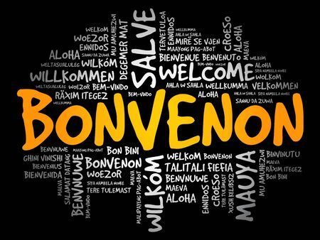 Bonvenon (Welcome in Esperanto) word cloud in different languages Ilustração