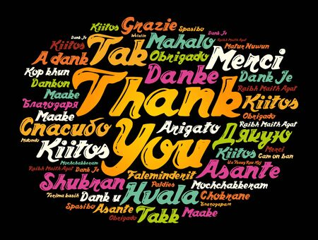 Thank You Word Cloud background, all languages, multilingual for education or thanksgiving day Ilustração