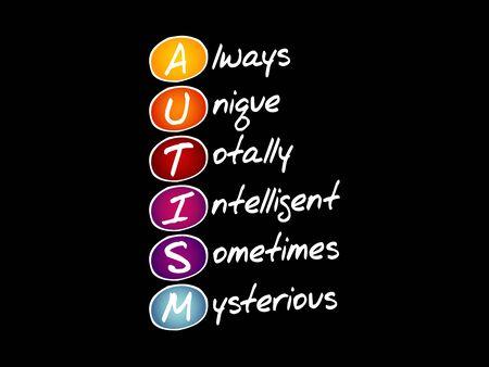 AUTISM - Always Unique Totally Intelligent Sometimes Mysterious, acronym concept Vektoros illusztráció