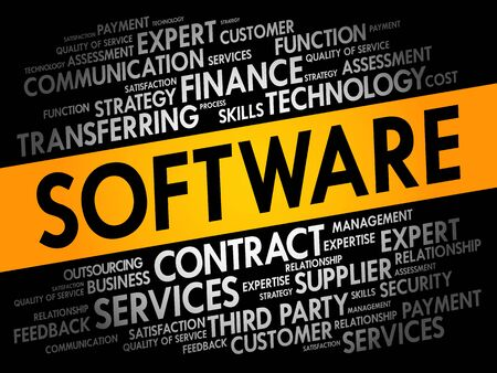 Software word cloud collage, technology concept background 일러스트