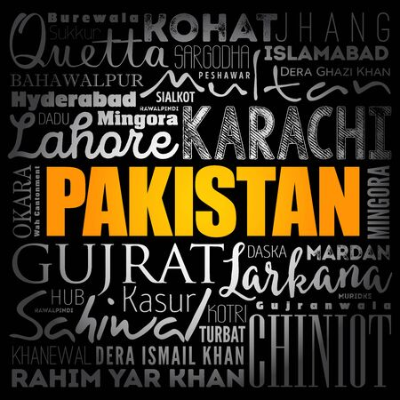 List of cities and towns in Pakistan, word cloud collage, business and travel concept background