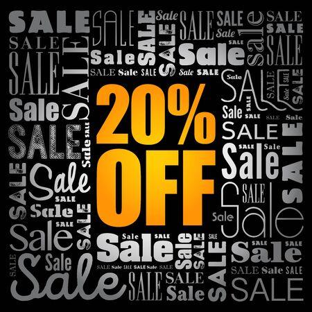 20% OFF Sale words cloud, business concept background