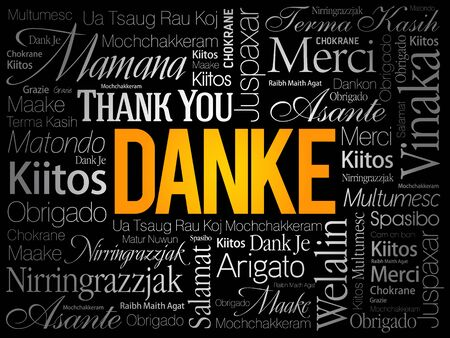 Danke (Thank You in German) word cloud background in different languages Illustration