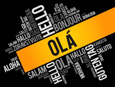 OLA! (Hello Greeting in Portuguese) word cloud in different languages of the world Çizim
