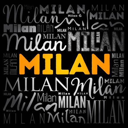 Milan wallpaper word cloud, travel concept background