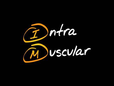 IM - intramuscular acronym, medical concept background