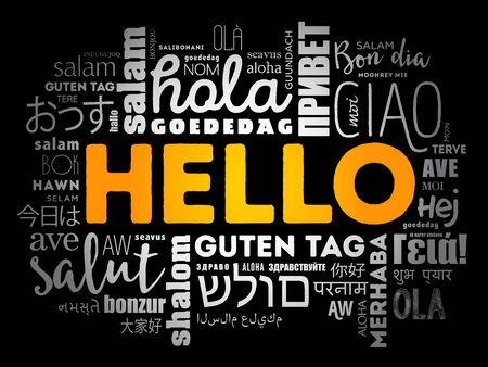 Hello word cloud in different languages of the world, background concept Çizim