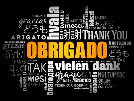 Obrigado (Thank You in Portuguese) Word Cloud in different languages