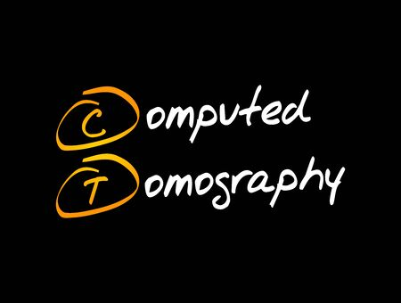 CT - Computed Tomography acronym, medical concept background