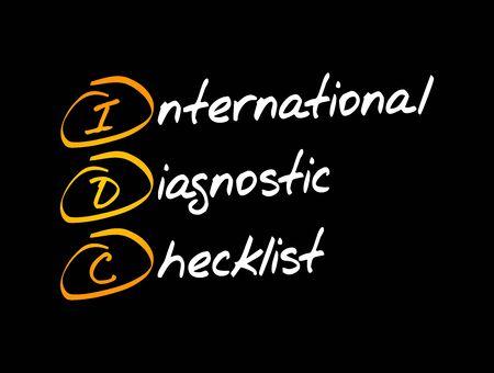 IDC - International Diagnostic Checklist, acronym business concept background