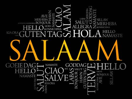 SALAAM (Hello Greeting in Persian,Farsi) word cloud in different languages of the world