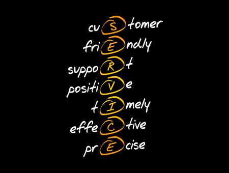 SERVICE - Customer, Friendly, Support, Positive, Timely, Effective, Precise acronym, business concept background