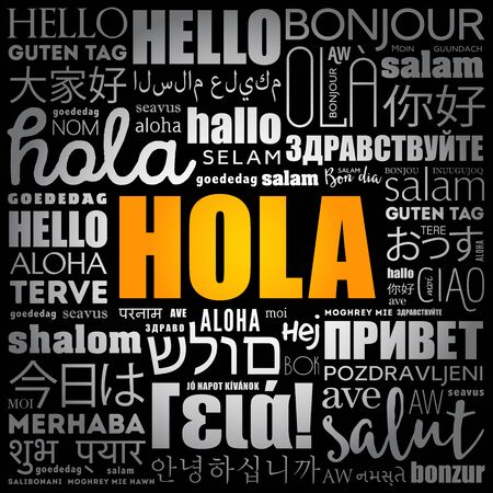Hola (Hello Greeting in Spanish) word cloud in different languages of the world Çizim