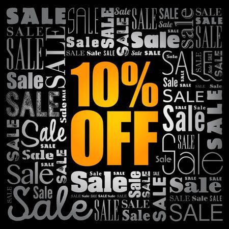 10% OFF Sale words cloud, business concept background