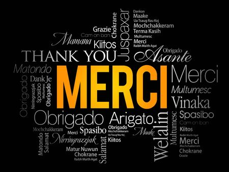 Merci (Thank You in French) word cloud in different languages