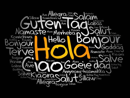 Hola (Hello Greeting in Spanish) word cloud in different languages of the world Illusztráció