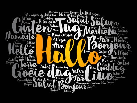 Hallo (Hello Greeting in German) word cloud in different languages of the world Illustration