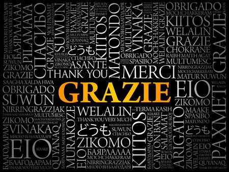 Grazie (Thank You in Italian) word cloud background in different languages Ilustração