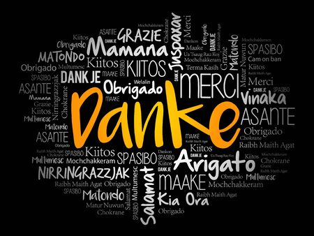 Danke (Thank You in German) word cloud background in different languages Ilustração