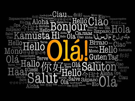 OLA (Hello Greeting in Portuguese) word cloud in different languages of the world
