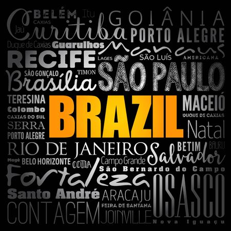 Brazil wallpaper word cloud, travel concept background