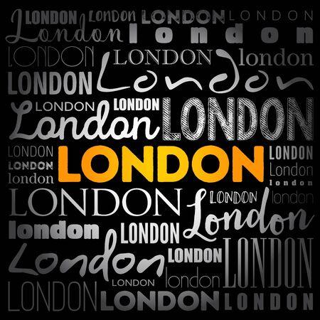 London wallpaper word cloud, travel concept background