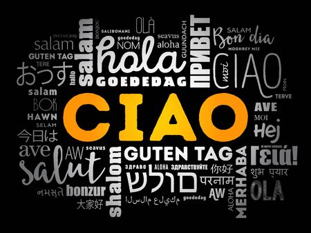 Ciao (Hello Greeting in Italian) word cloud in different languages of the world
