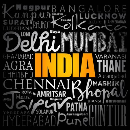 India wallpaper word cloud, travel concept background