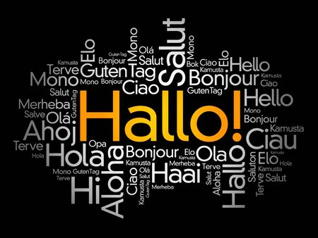 Hallo (Hello Greeting in German) word cloud in different languages of the world Illusztráció