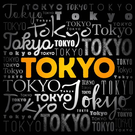 Tokyo wallpaper word cloud, travel concept background Illustration