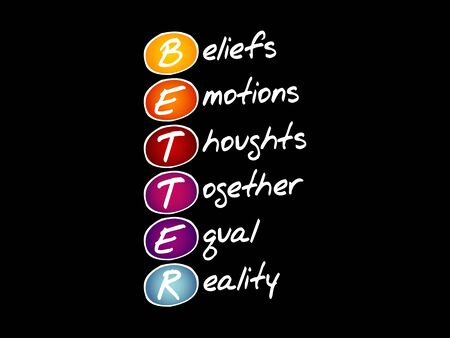 BETTER - Beliefs Emotions Thoughts Together Equal Reality, acronym concept