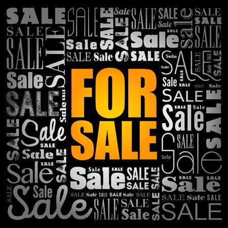 For Sale word cloud collage, business concept background Stock Illustratie